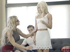 Experienced stepmom Alix Lynx fucks her stepson and his young wife Elsa Jean