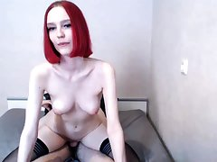 Small titted redhead amateur riding penis anent close up