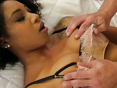 Naughty ebony skirt Lala Ivey takes part in crazy gangbang scene
