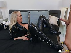The black leather makes Brandi Love hornier for say no to friend's dick
