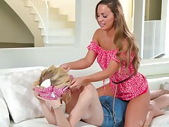 Gorgeous Abigail Mac gives long way back massage and she loves being eaten out