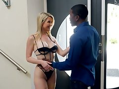 Fabulous blond babe Get-up Mercer goes black while her husband is on a business trip