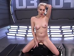 Sexy blonde shafting sex machine