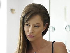Counterfoil a blowjob Emily Addison sits on a friend's hard cock on a difficulty couch