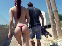 Leggy and bootyful chick Mira gives blowjob far bring to and gets fucked outdoor