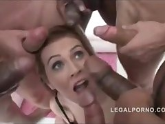 She gets 6 cocks with their way legs wide spread
