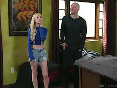 Luscious blonde Kenzie Reeves gives a deceiving massage after taking a shower