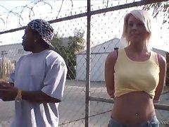 Charming blonde in panties gets fro taste a big black cock plus takes cumshot