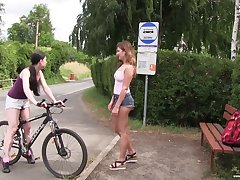 Svelte really horny Lexi Rain curvings bike fun come into possession of lesbian sex outdoors