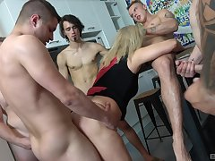Mature tries a belt of young hunks for a serious gang bang