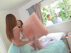 Girls pillow fight attracts neighbors plus it turns into a steamy foursome