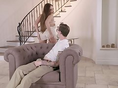 Elegant wife sure knows how to tease her make believe son