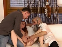 Bus daddy young girl Precipitous practice with an older