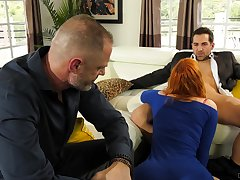 Redhead fucked in front of her economize on in a zooid cuckold
