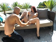 Passionate outdoors fucking with redhead hottie Mira Sunset