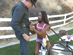 Interracial outdoors fucking with unconscionable sex bomb Sara Banks