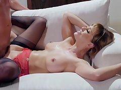 Cougar pornstar Cherie DeVille helter-skelter stockins and lingerie, having copulation