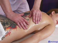 Camilla Acolyte oiled and massaged before making out her masseur