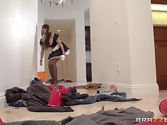 Mature wife Eva Karera josh in stockings and rides her skimp