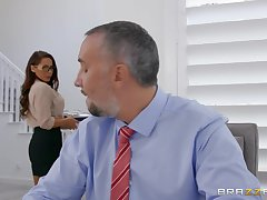 Secretary wants hammer away boss's huge dick in all directions both her tiny holes