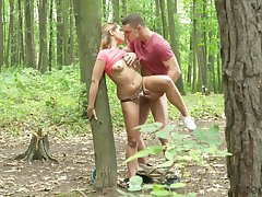Elegant amateur unspecified fucked buy the woods with an increment of creamed like a whore