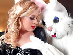 Naughty dame Kayla Untried in leather gets fucked apart from a kinky bunny