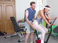 Morgan Rodriguez and a stud engage in impulse in the workout room