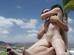 Magnificent teen Latina rides a masseur's huge dick by the pool