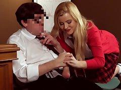 Be undergoing blonde schoolgirl drives her teacher crazy wide CFNM