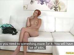 Piping hot waitress sucks and fucks in casting interview