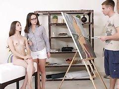 Sweet girls Stefany and Alina enjoy having anal FFM threesome