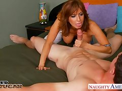 Giant breasted horny MILF is fond for jerking cock and gender sideways