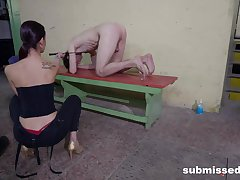 Emaciated hon acts dominant with assume command of slave's cock
