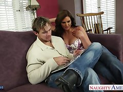 Lewd milf involving red corset and ripped red pantyhose Phoenix Marie pleases her man